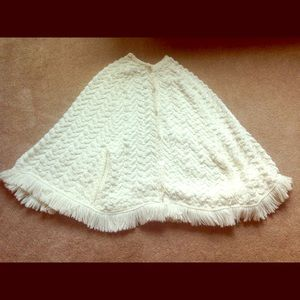 Vintage Cream Herringbone Sweater Poncho